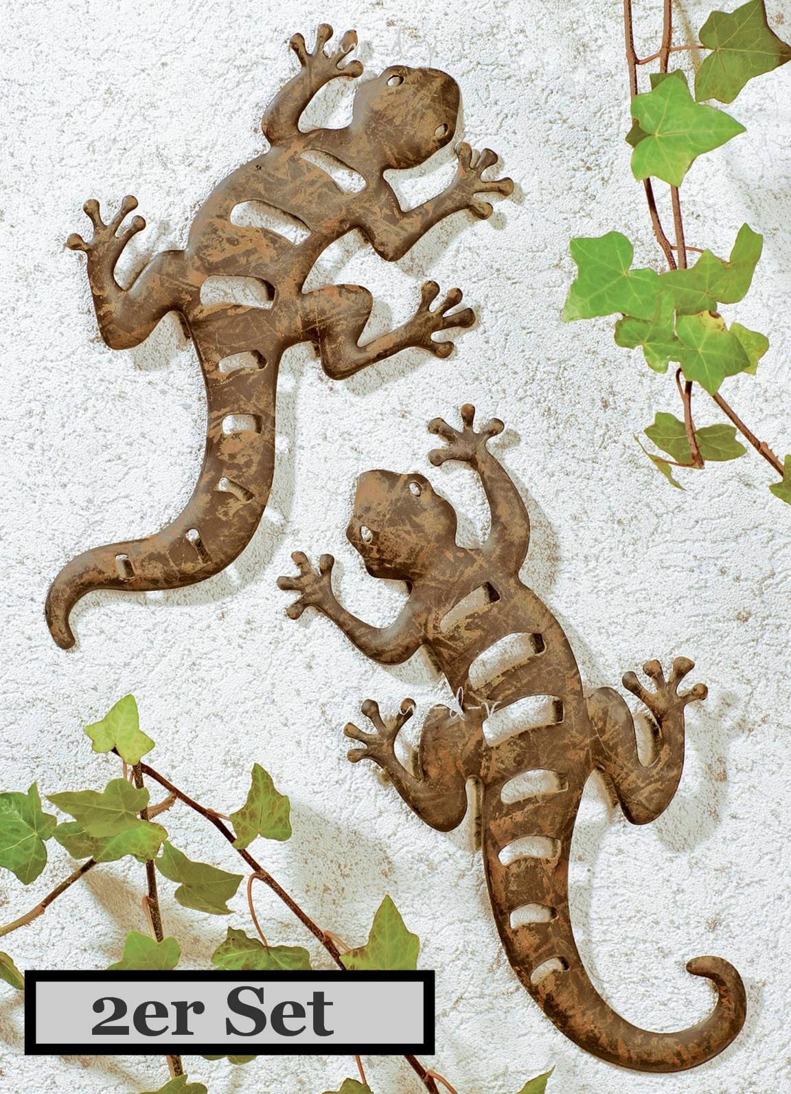 2er set metall gecko gartendeko gartenfigur wandschmuck eidechse salamander deko ebay - Gecko wanddeko ...