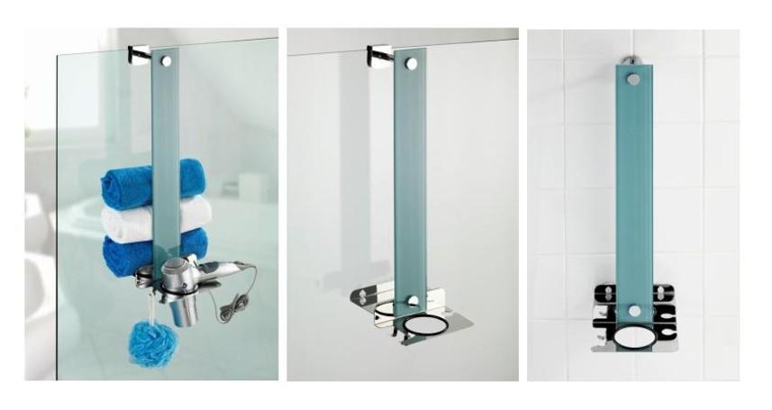 edelstahl glas handtuch halter badetuchstange f nhalter haken ablage ohne bohren ebay. Black Bedroom Furniture Sets. Home Design Ideas